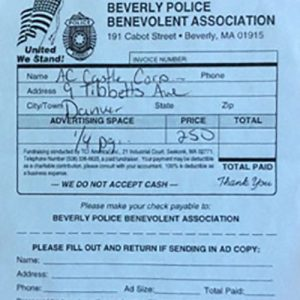 Beverly Police Benevolent Association $250 Donation