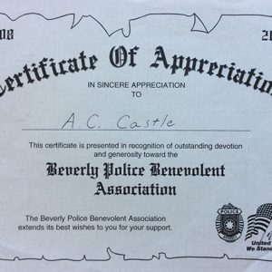 Beverly Police Benevolent Association Appreciation Certificate