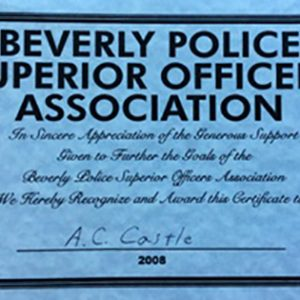 Beverly Police Superior Officers Association Appreciation Certificate