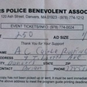Danvers Police Benevolent Association $250 Donation