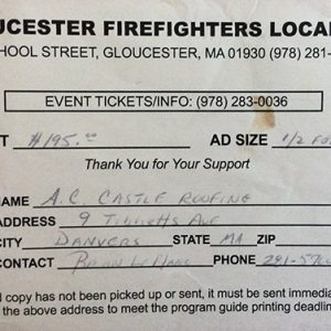 Gloucester Firefighters Local 762 $195 Donation