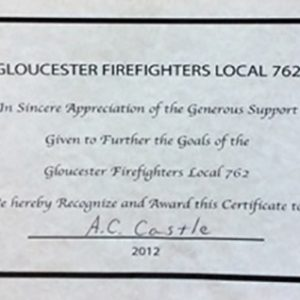 Gloucester Firefighters Local 762 Appreciation Certificate 2012