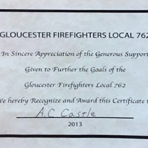 Gloucester Firefighters Local 762 Appreciation Certificate 2013