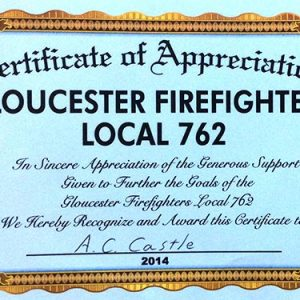 Gloucester Firefighters Local 762 Appreciation Certificate 2014