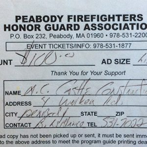 Peabody Firefighters Honor Guard Association $100 Donation
