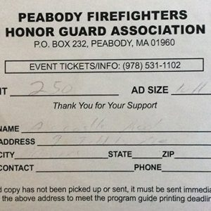 Peabody Firefighters Honor Guard Association $250 Donation
