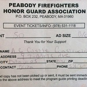Peabody Firefighters Honor Guard Association $50 Donation