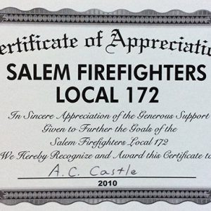 Salem Firefighters Local 172 2010 Appreciation Certificate