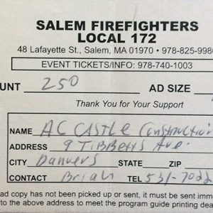 Salem Firefighters Local 172 $250 Donation