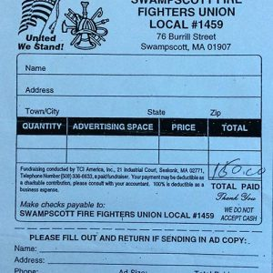 Swampscott Firefighters Union Local #1459 $150