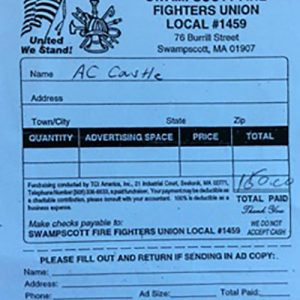 Swampscott Firefighters Union Local #1459 $150 Donation