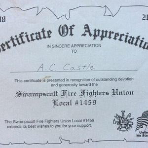 Swampscott Firefighters Union Local #1459 Appreciation Certificate