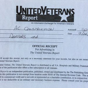 United Veterans Report $50 Ad Receipt