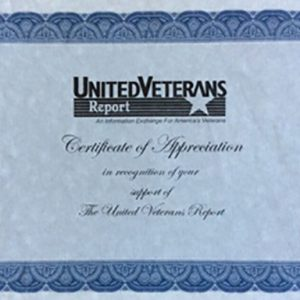 United Veterans Report Appreciation Certificate